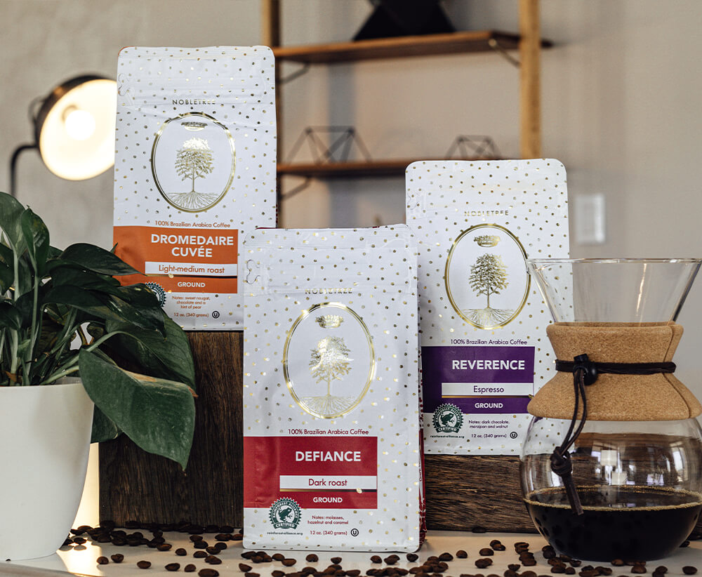 Nobletree Coffee Bags on Table