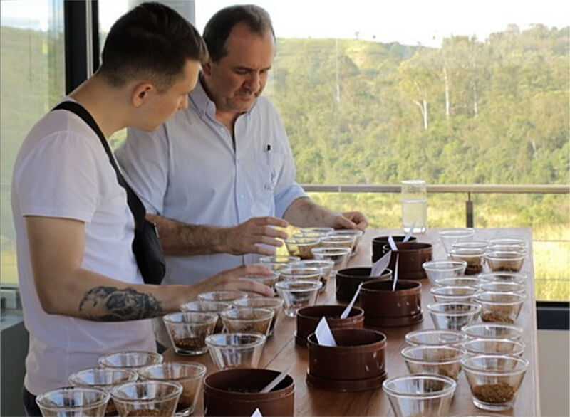 A Q-grader reviewing different varieties of Nobletree Coffee during the Specialty Coffee Cupping and Grading Process.